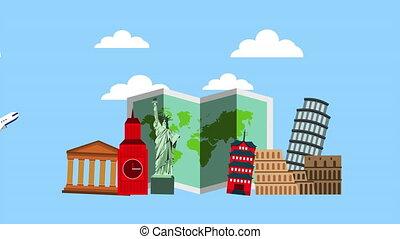 mondiale, temps, vacances, monuments