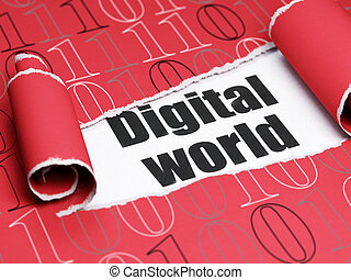 mondiale, texte, papier déchiré, noir, numérique, sous, morceau, données, concept:
