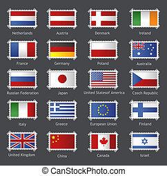mondiale, timbres, drapeaux