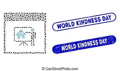 mondiale, timbres, realty, collage, ovale, jour, révélateur, page, gentillesse, calendrier, détresse