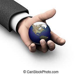 mondiale, ton, mains