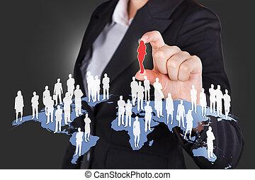 mondiale, tout, choix, femme affaires, candidat, sur
