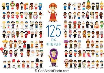mondiale, vecteur, 125, collection:, dessin animé, style., gosses, ensemble, différent, enfants, caractères, nationalités