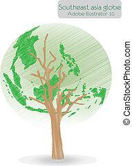 mondiale, vecteur, arbre, map., formé