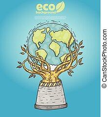 mondiale, vecteur, -, carte, arbre