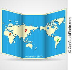 mondiale, vecteur, carte