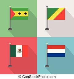 mondiale, vecteur, conception, drapeaux, pays