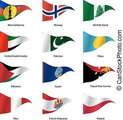 mondiale, vecteur, drapeaux, ensemble, states., souverain, illustration.