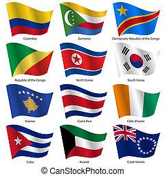 mondiale, vecteur, drapeaux, ensemble, states., souverain, ...