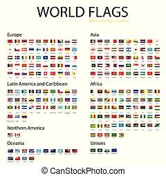 mondiale, vecteur, drapeaux