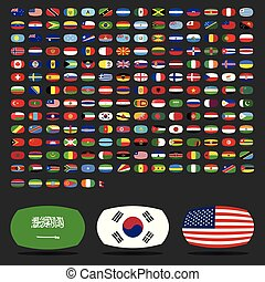 mondiale, vecteur, ensemble, drapeaux, icônes