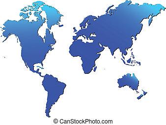 mondiale, vecteur, isolé, carte