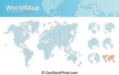 mondiale, vecteur, pointillé, carte