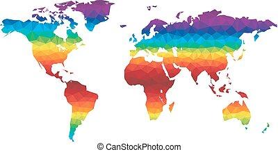 mondiale, vecteur, polygone, carte