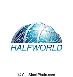 mondiale, vecteur, trois dimensionnel, résumé, logo, gabarit, globe, moitié, illustration
