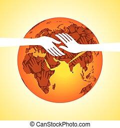 mondiale, vector., gens