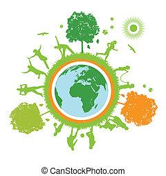 mondiale, vie, vert, planète