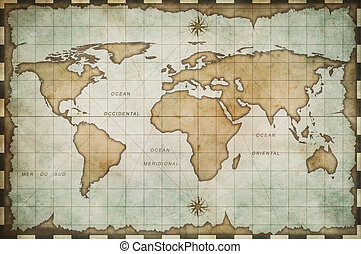 mondiale, vieilli, vieux, carte