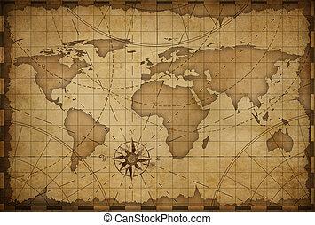 mondiale, vieux, fond, carte