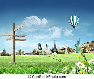 mondiale, voyage, autour de