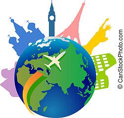 mondiale, voyager, autour de