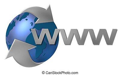 mondiale, www, large, toile