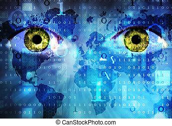 mondiale, yeux, carte
