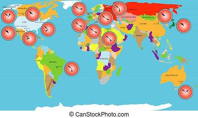 mondiale, zone, temps