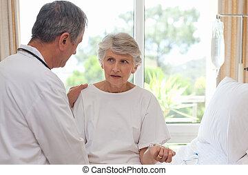 mondige arts, met, zijn, patiënt
