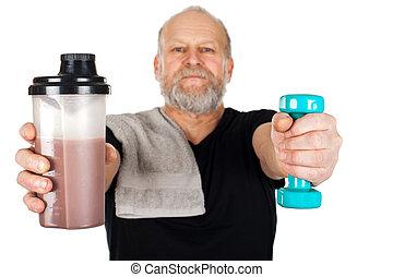 mondige man, met, proteine verwiken, en, dumbbell