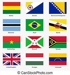 mondo, 3., vettore, bandiere, esatto, colors., facile, changes., set, states., sovrano, illustration., numero