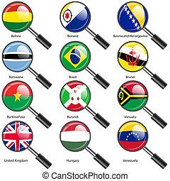 mondo, 3., vettore, bandiere, esatto, colors., facile, stati, ingrandendo, changes., set, vetro., sovrano, illustration., numero
