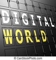 mondo, aeroporto, mostra, digitale