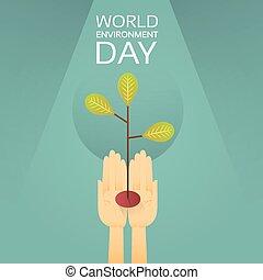 mondo, albero, ambiente, protezione, mani, crescente, terra, presa, giorno