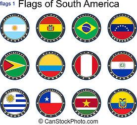 mondo, america., flags., sud
