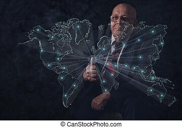 mondo, anziano, connections., businessman., affari