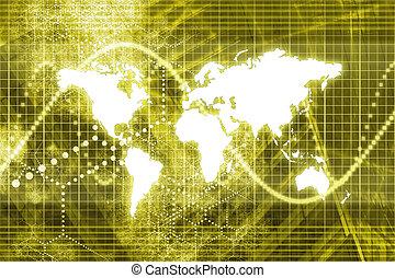 mondo, astratto, affari, digitale