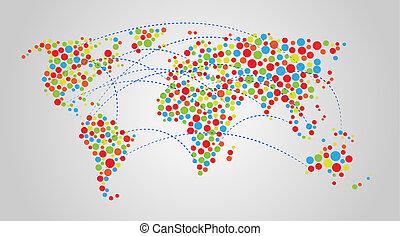 mondo, astratto, colorito, mappa