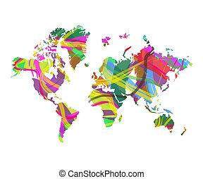 mondo, astratto, mappa