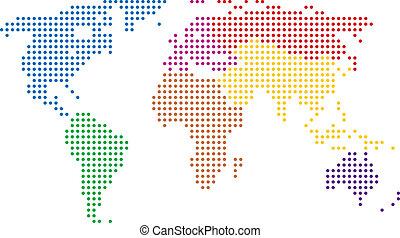 mondo, astratto, vettore, colorito, mappa