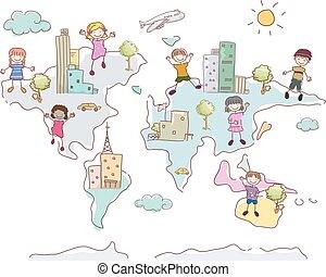 mondo, bambini, stickman, illustrazione, mappa