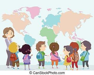 mondo, bambini, stickman, insegnante, mappa