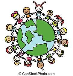 mondo, bambini, tenendo mano