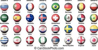 mondo, bandiere, paesi, tazza, palle, torneo, calcio, 2018, ...