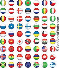 mondo, bottone, bandiere