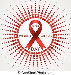 mondo, cancro, giorno, vettore, fondo, con, halftone, sole