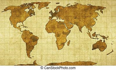 mondo, carta, vecchio, mappa