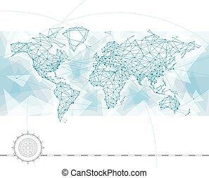 mondo, collegamento, mappa