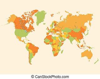 mondo, colorito, illustrazione, mappa