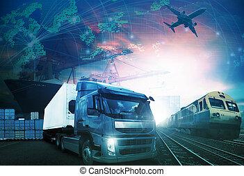 mondo, commercio, con, industrie, camion, e, carico aereo,...